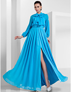 Formal Evening / Military Ball Dress - Pool Plus Sizes / Petite A-line / Princess High Neck Floor-length Chiffon