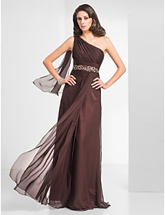 Formal Evening / Prom / Military Ball Dress - Chocolate Plus Sizes / Petite Sheath/Column One Shoulder Floor-length Chiffon