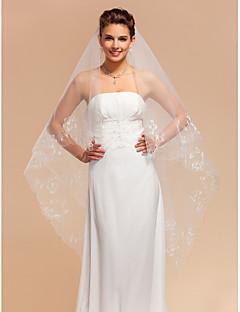 Véus de Noiva Duas Camadas Véu Capela Borda Recortada 118,11 em (300 centímetros) Tule Marfim MarfimLinha-A, Vestido de Baile, Princesa,