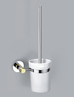 Contemporary Style Chrome Finish Zinc Alloy Wall Mounted Toilet Brush Holder