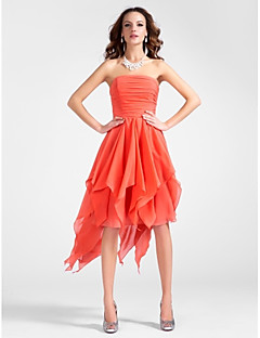 TS Couture Cocktail Party Dress - High Low A-line Princess Strapless Knee-length Asymmetrical Chiffon withDraping Ruching Cascading