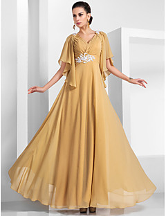 TS Couture Formal Evening / Military Ball Dress - Gold Plus Sizes / Petite A-line / Princess V-neck Floor-length Chiffon