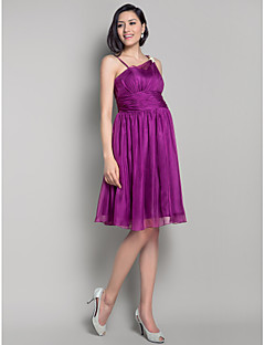 Lanting Bride® Knee-length Chiffon Bridesmaid Dress A-line / Princess Straps Maternity withBow(s) / Draping / Crystal Brooch / Side