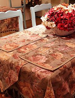 Ensemble de 4 napperons conception florale européennes polyester / coton