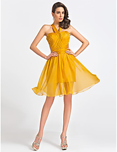 Cocktail Party Dress - Gold Plus Sizes / Petite A-line / Princess Straps / Sweetheart Knee-length Organza