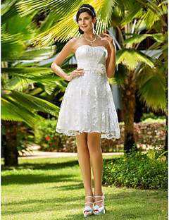 A-line/Princess Plus Sizes Wedding Dress - Ivory Knee-length Sweetheart Lace