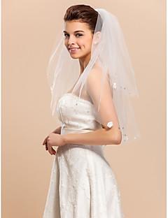 잘라 가장자리 2 층 아름다운 팔꿈치 결혼식 베일