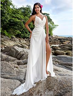 LAN TING BRIDE Sheath / Column Wedding Dress - Chic & Modern Elegant & Luxurious Beautiful Back Sweep / Brush Train V-neck Chiffon with