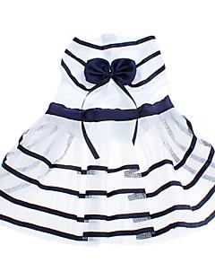 Dog Dress White / Blue Dog Clothes Summer Stripe / Bowknot Birthday / Fashion
