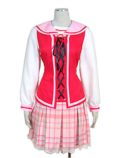 Strawberry Girl Pink Check Pattern Schuluniform Set (3 Stück)