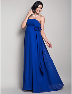 Lanting Bride® Floor-length Chiffon Bridesmaid Dress Sheath / Column Strapless Maternity with Draping / Sash / Ribbon