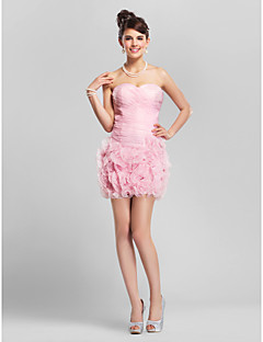 Homecoming Cocktail Party/Homecoming Dress - Blushing Pink Plus Sizes Sheath/Column Sweetheart/Strapless Short/Mini Organza