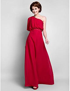 Vestido Para Mãe dos Noivos - Vinho Tubo/Coluna Longo Meia Manga Chiffon Tamanhos Grandes