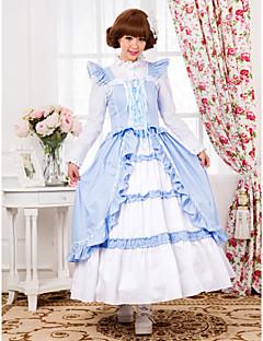 Mangas Andar de comprimento Sky algodão azul País Vestido Lolita