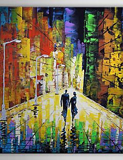 pintado a mano las personas pintura al óleo amantes amor de nuevo con el marco de estirado-1307 pe0261