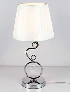 lampada da tavolo moderno con decorazioni in cristallo tessuto elegante tonalità di bianco stile pieghettato 220-240v