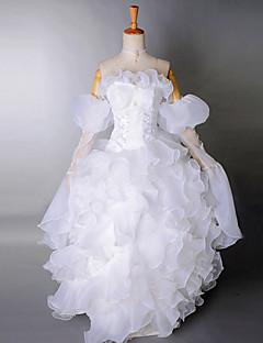 Strapless Floor-length Pure White Satin Organza Cascading Ruffles Princess Lolita Dress