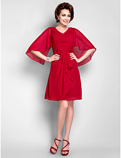 Sheath/Column Plus Size / Petite Mother of the Bride Dress - Knee-length 3/4 Length Sleeve Chiffon