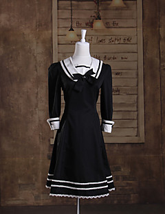 3/4-Length Sleeve Knee-length Black and White Cotton Sailor Lolita Dress