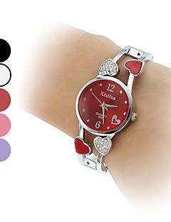Dame Moteklokke Armbåndsur Imitasjon Diamant Quartz Legering Band hjerteform Armring Sølv
