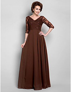 A-line Plus Size / Petite Mother of the Bride Dress - Floor-length Half Sleeve Chiffon / Lace