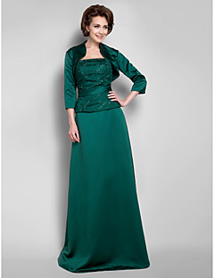 A-line Plus Size / Petite Mother of the Bride Dress - Floor-length 3/4 Length Sleeve Lace / Satin
