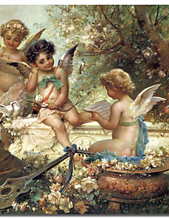 Printed Canvas Art Vintage Cherubim In the Forest by Vintage Apple Collection with Stretched Frame