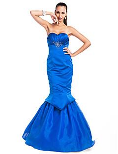 Vestido - Azul Oceano Baile Militar/Baile de Formatura/Festa Formal Sereia Curação/Sem Alça Longo Cetim/Organza Tamanhos Grandes