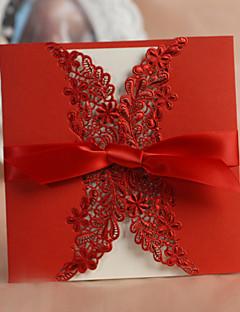 """Fensterfalz Hochzeits-Einladungen Einladungskarten Klassicher Stil / Geblühmter Style Kartonpapier 6""""×6"""" (15*15cm) Schleifen"""