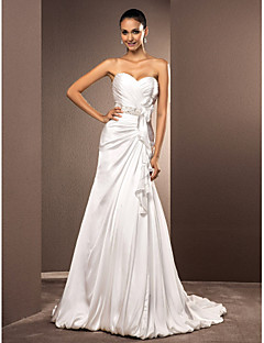 A-line/Princess Plus Sizes Wedding Dress - Ivory Court Train Sweetheart Satin Chiffon