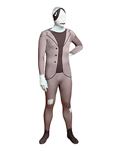 Gray Leisure Suit Masked Man Lycra Full Body Zentai