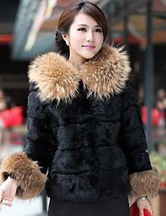 Manga larga Capucha de piel de mapache y conejo Fur Jacket Casual / Fiesta