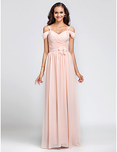 Lanting Bride® Floor-length Chiffon Bridesmaid Dress Sheath / Column Off-the-shoulder / Spaghetti Straps Plus Size / Petite withDraping /