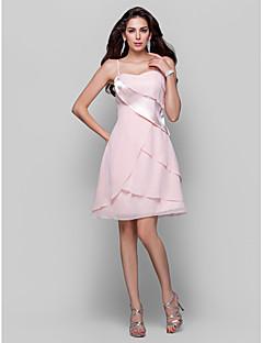 TS Couture Cocktail Party /  Dress - Pearl Pink Plus Sizes / Petite A-line / Princess Spaghetti Straps Short/Mini Chiffon / Stretch Satin