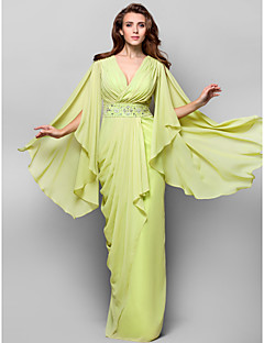 TS Couture Formal Evening / Military Ball Dress - Lime Green Plus Sizes / Petite Sheath/Column V-neck Floor-length Chiffon