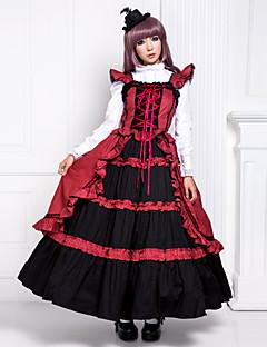 Badpak/Jurken Gothic Victoriaans Cosplay Lolitajurk Patchwork Mouwloos Lange Lengte Kleding Voor Katoen