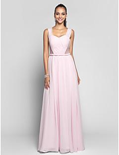 저녁 정장파티/프롬/밀리터리 볼 드레스 - 블러슁 핑크 시스/컬럼 바닥 길이 스위트하트/스트랩 쉬폰/명주그물 플러스 사이즈