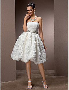 Lan Ting A-line/Princess Plus Sizes Wedding Dress - Ivory Knee-length Strapless Lace