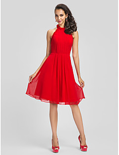 TS Couture® Cocktail Party Dress - Ruby Plus Sizes / Petite Sheath/Column High Neck Knee-length Chiffon
