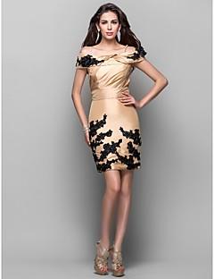 Cocktail Party Dress - Gold Plus Sizes / Petite Sheath/Column Off-the-shoulder / Spaghetti Straps Short/Mini Taffeta