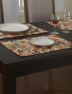 Ensemble De 4 Pays florale rouge napperons en coton imprimé Polyester Blend