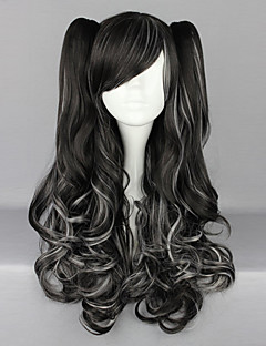 Black and White Blended Curly Haarzopf 70cm Gothic & Punk Lolita Perücke