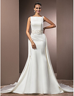 Lanting Trumpet/Mermaid Petite / Plus Sizes Wedding Dress - Ivory Chapel Train Bateau Satin