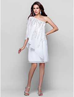 TS Couture® Cocktail Party / Graduation Dress - Ivory Plus Sizes / Petite Sheath/Column One Shoulder Knee-length Chiffon