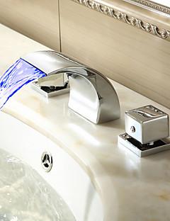 Sprinkle® 浴室用水栓 LEDタイプ / 滝状吐水タイプ / 組み合わせ式 with クロム 2ハンドル 三つ