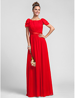 Formal Evening / Wedding Party / Military Ball Dress Sheath / Column Square Floor-length Chiffon with Ruffles / Side Draping