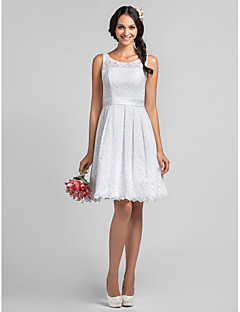 Knee-length Lace Bridesmaid Dress - White Plus Sizes / Petite A-line Scoop