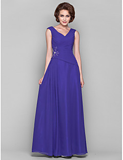 A-line Plus Sizes Mother of the Bride Dress - Regency Floor-length Sleeveless Chiffon