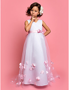 Flower Girl Dress - A-line/Princesse Balayage / pinceau train Sans manches Tulle/Satin