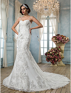 Lanting Bride Trumpet/Mermaid Petite / Plus Sizes Wedding Dress-Chapel Train Spaghetti Straps Tulle